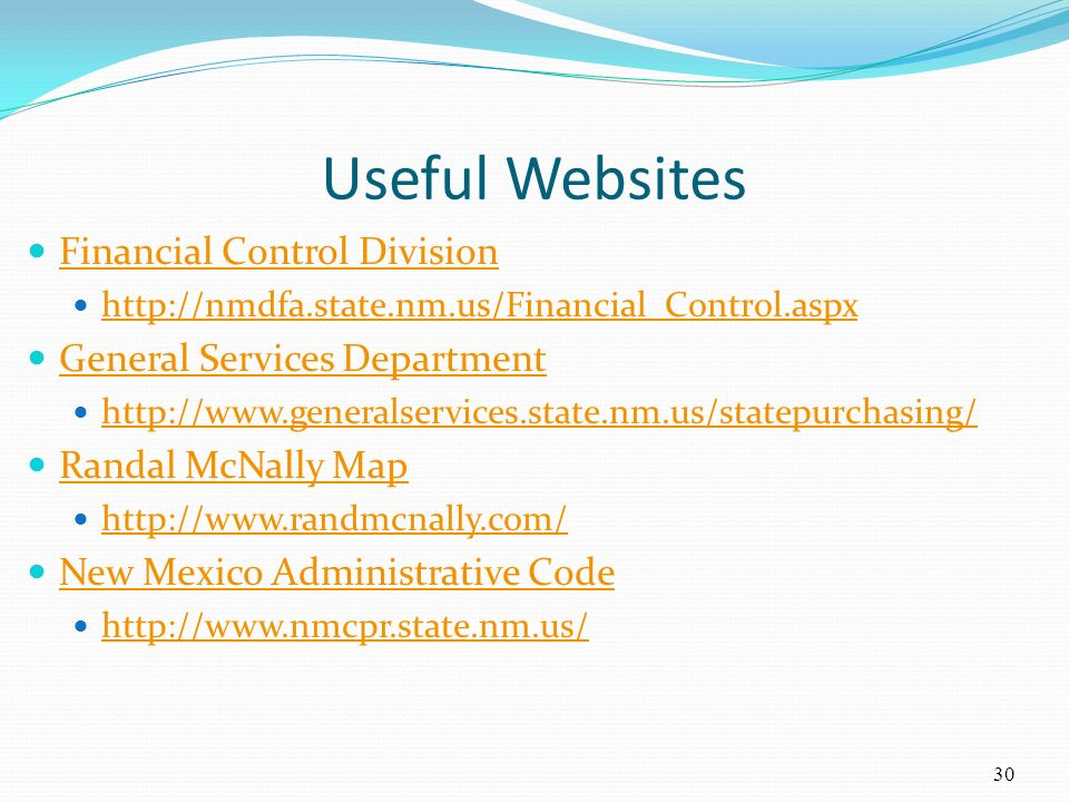 Useful Websites Financial Control Division General Services Department