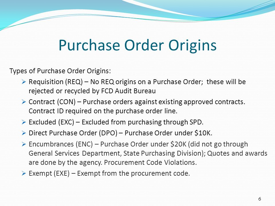 Purchase Order Origins