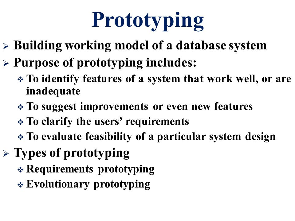Prototyping Building working model of a database system