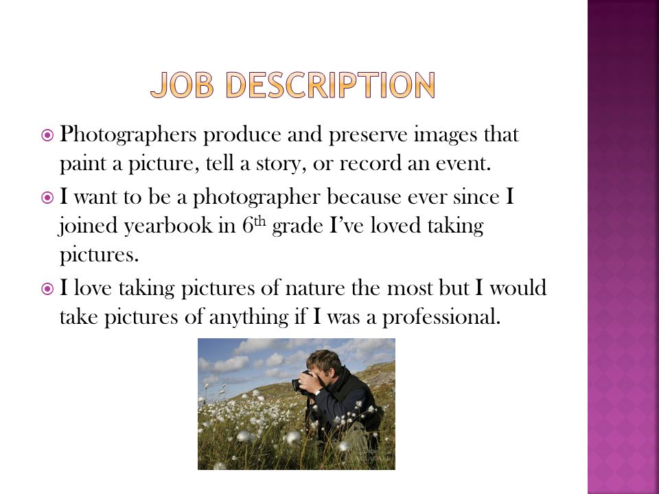 Career Research Project ppt video online download – Photographer Job Description