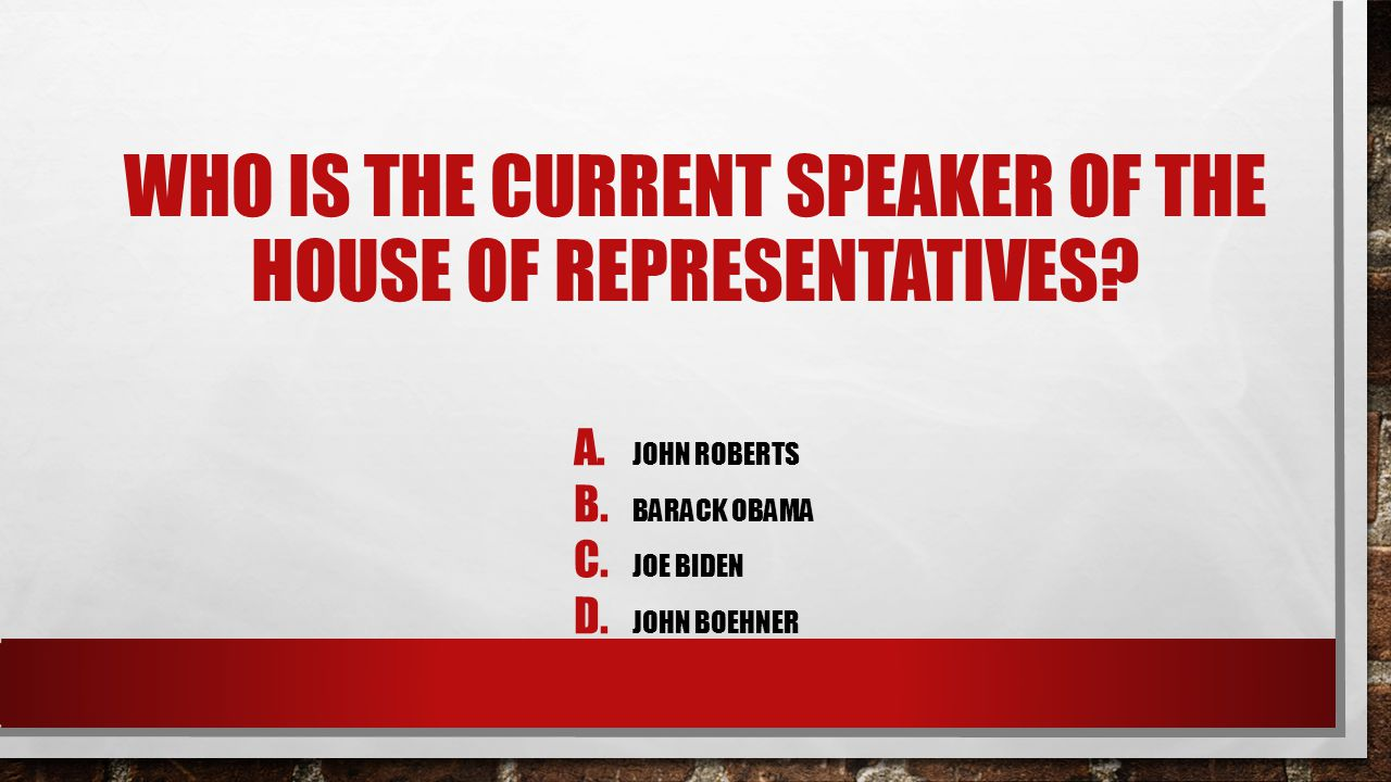 Who Is The Current Speaker Of The House Of Representatives