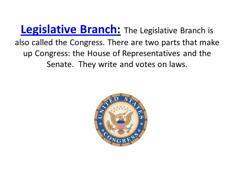 Legislative Branch: The Legislative Branch is also called the Congress