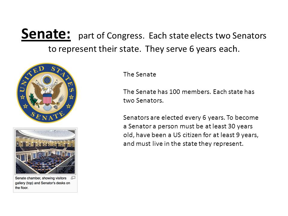 Senate: part of Congress