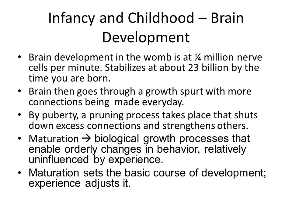 infancy and childhood development Free essay: infancy and early childhood development samantha trudeau psy/375 june 27, 2011 heather harrison infancy and early childhood development an.