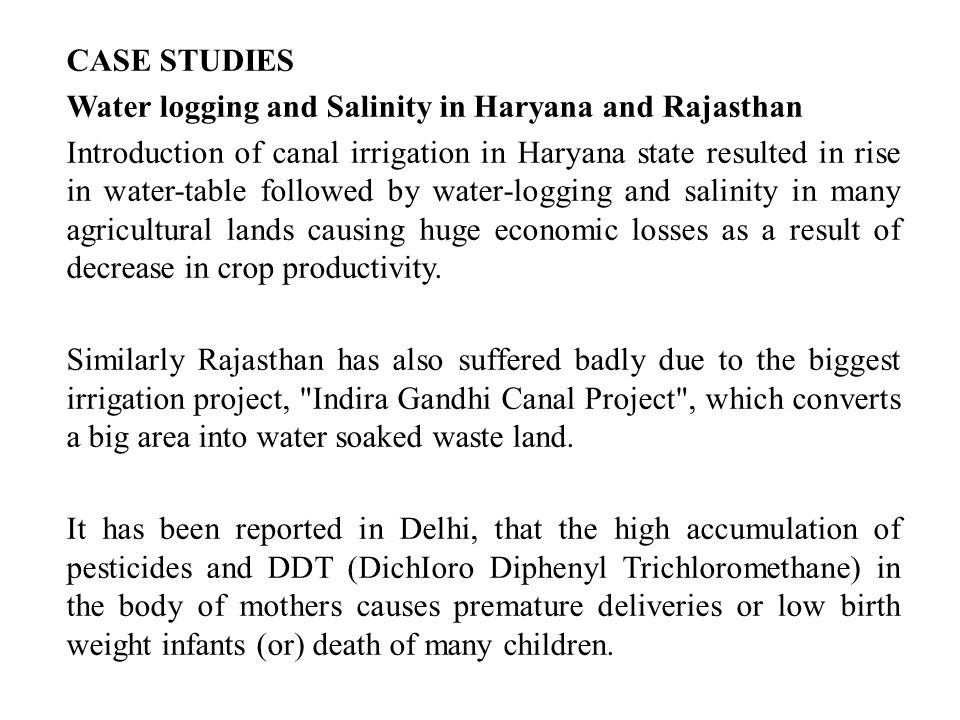 CASE STUDIES Water logging and Salinity in Haryana and Rajasthan.