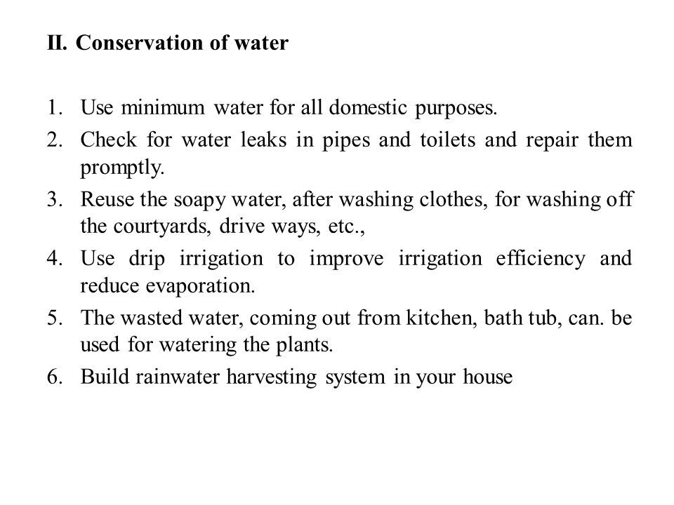 II. Conservation of water