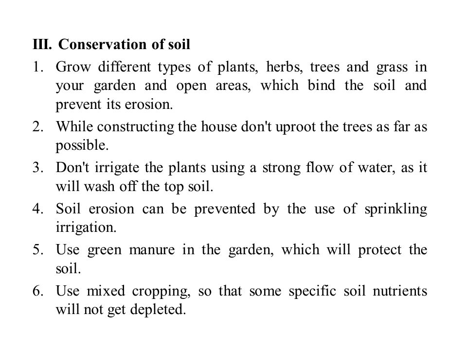 III. Conservation of soil