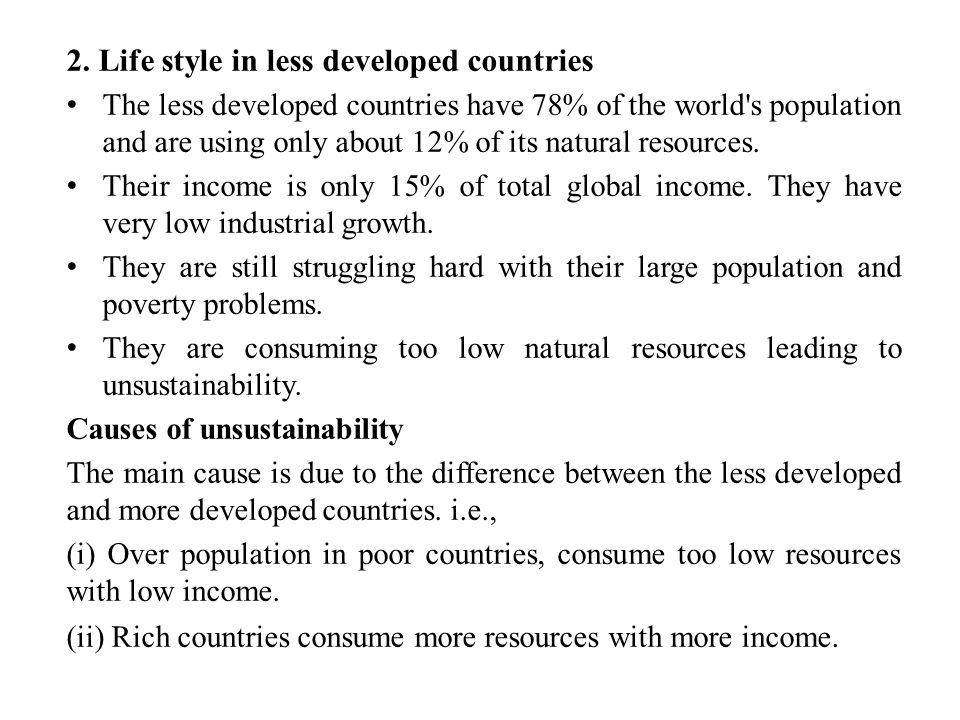 2. Life style in less developed countries