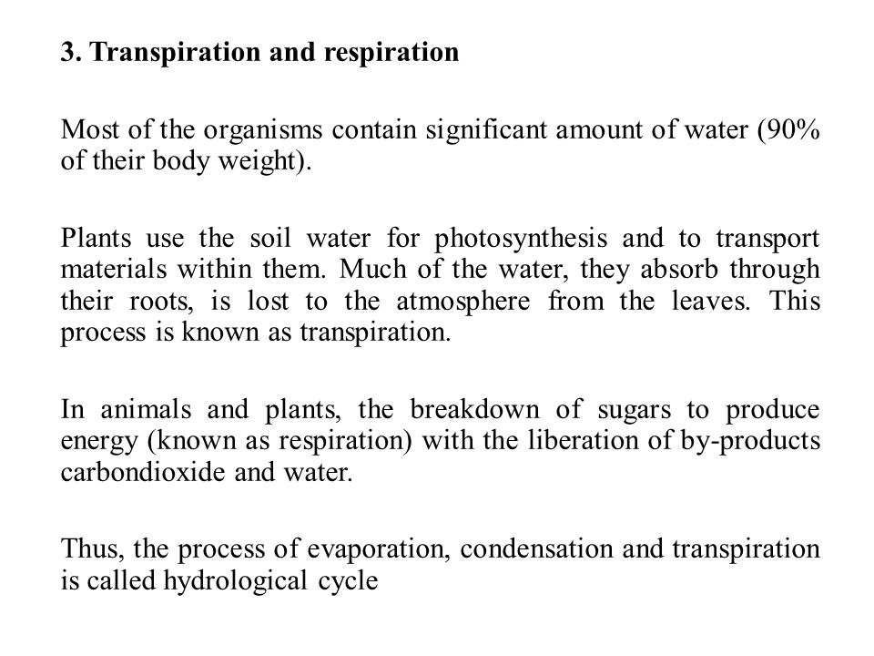 3. Transpiration and respiration