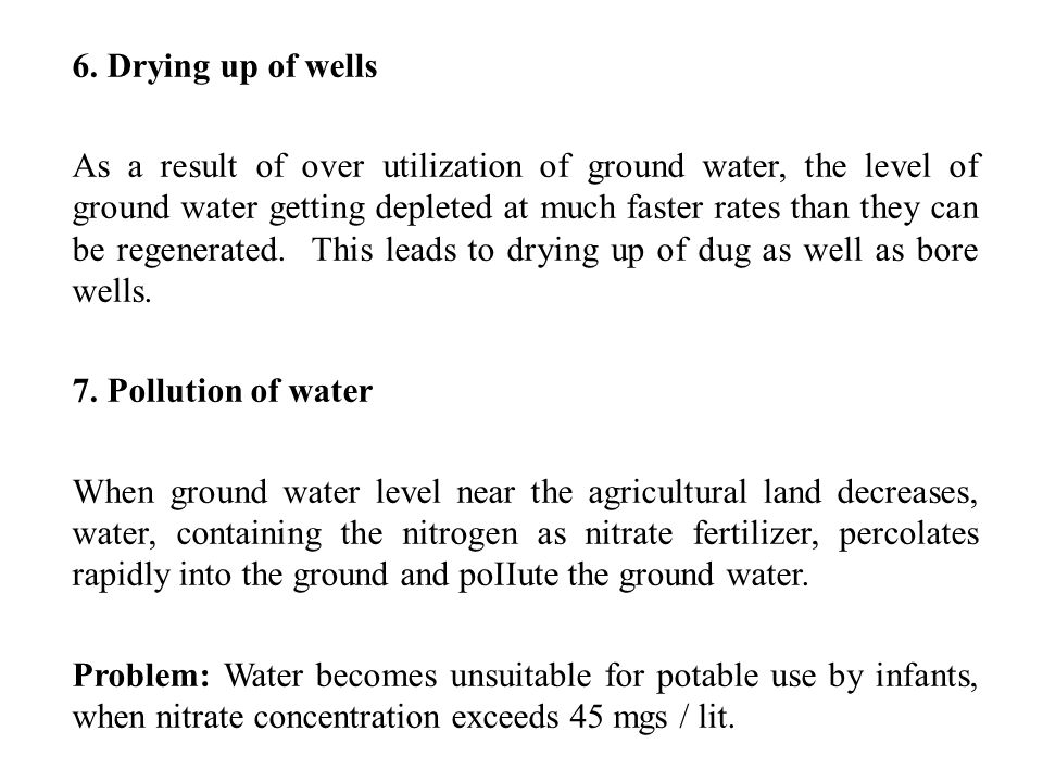 6. Drying up of wells