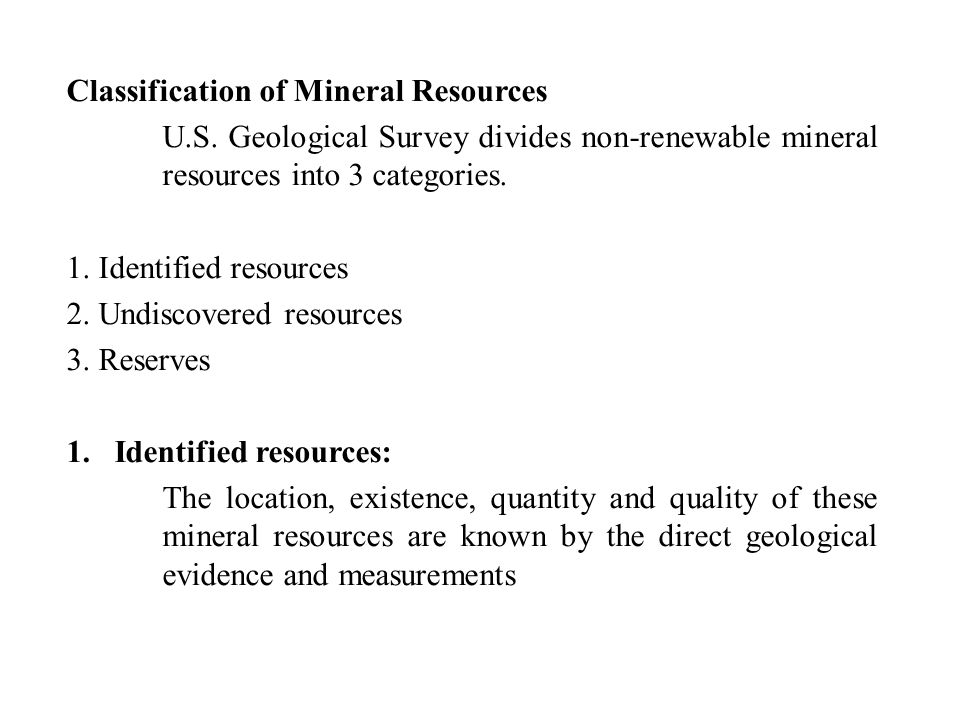 Classification of Mineral Resources