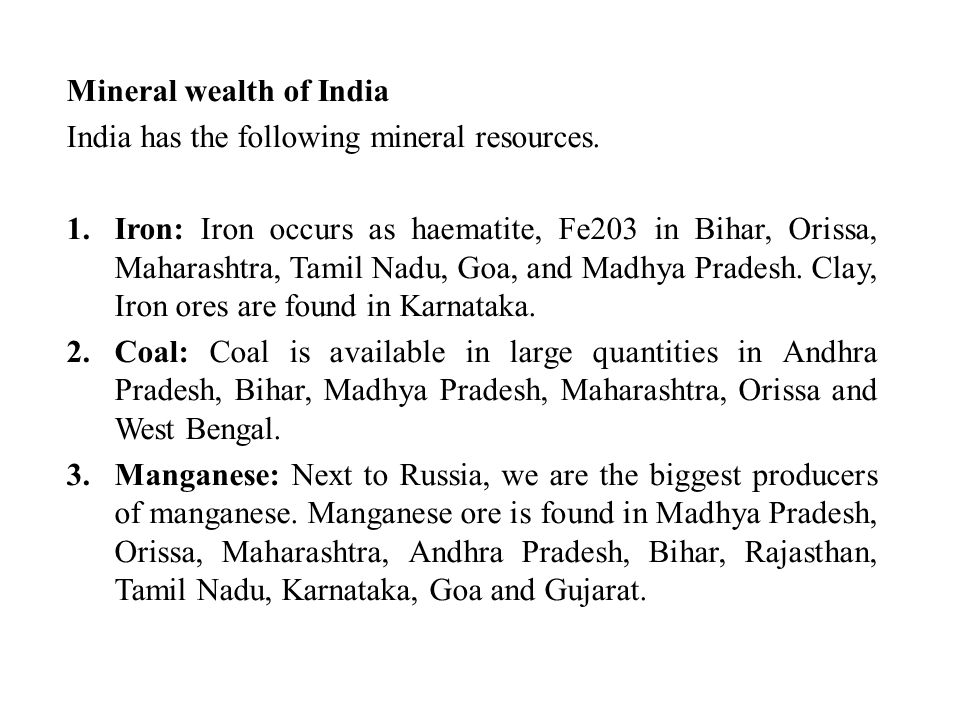 Mineral wealth of India