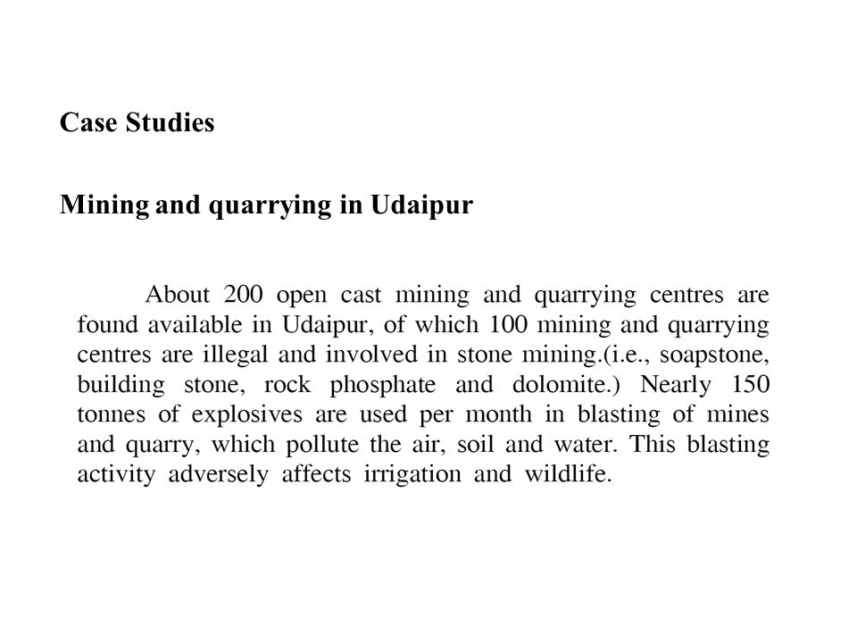 Case Studies Mining and quarrying in Udaipur