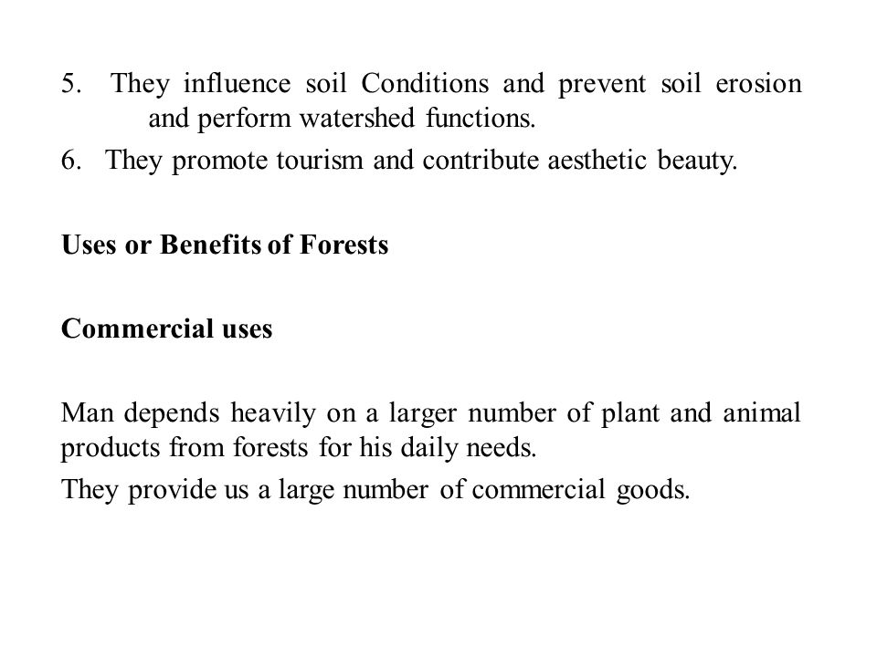 5. They influence soil Conditions and prevent soil erosion