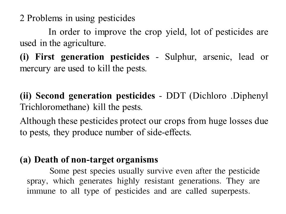 2 Problems in using pesticides