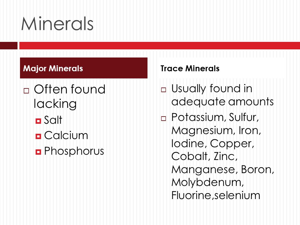 Minerals Often found lacking Usually found in adequate amounts