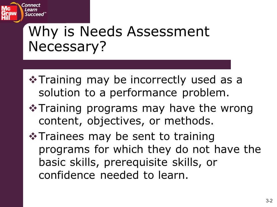 Why is Needs Assessment Necessary