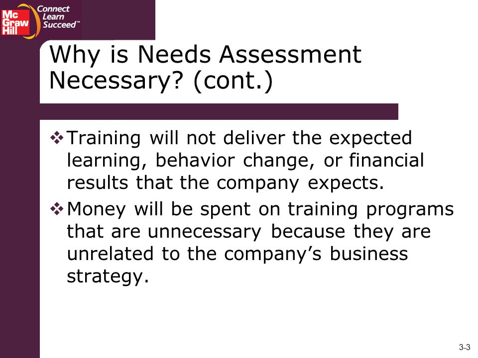 Why is Needs Assessment Necessary (cont.)