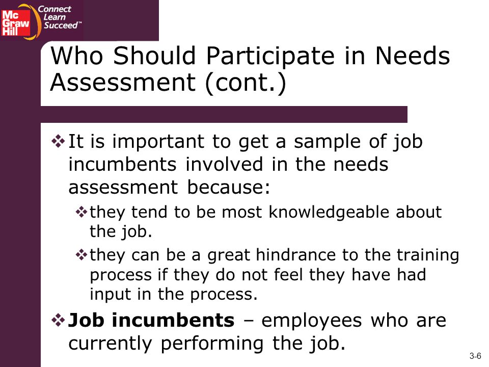 Who Should Participate in Needs Assessment (cont.)