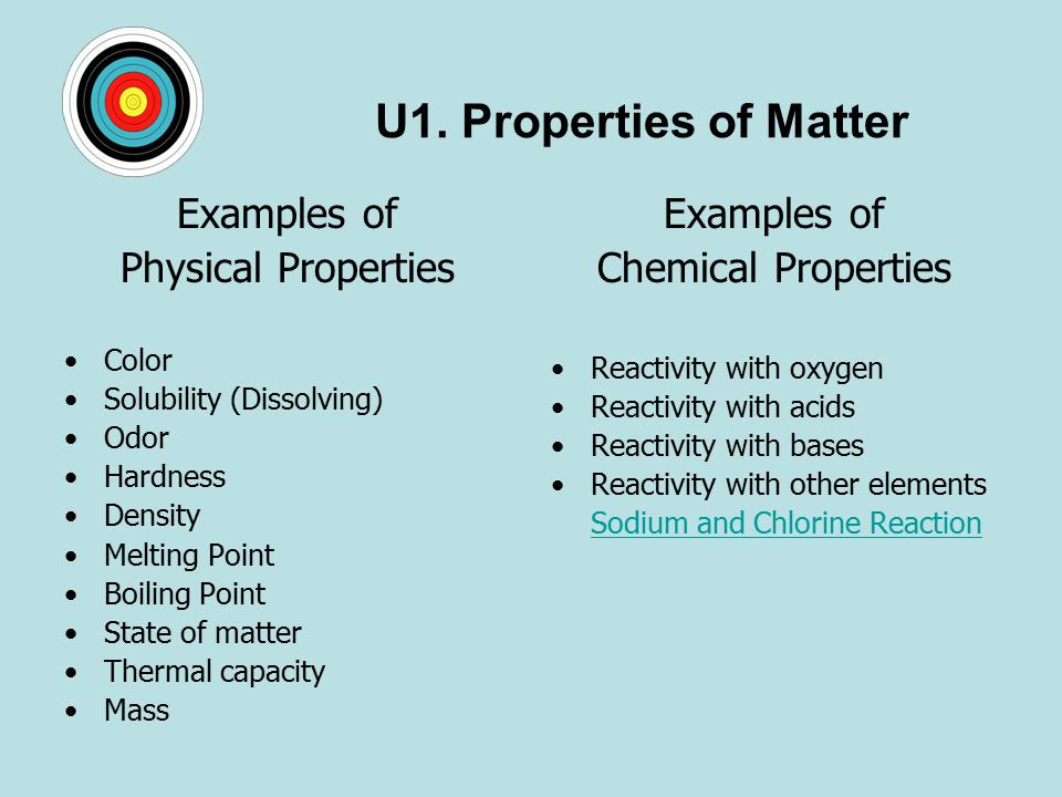 Topic 1.1 Matter & Change EI: physical and chemical ... What Are Some Examples Of Physical Properties