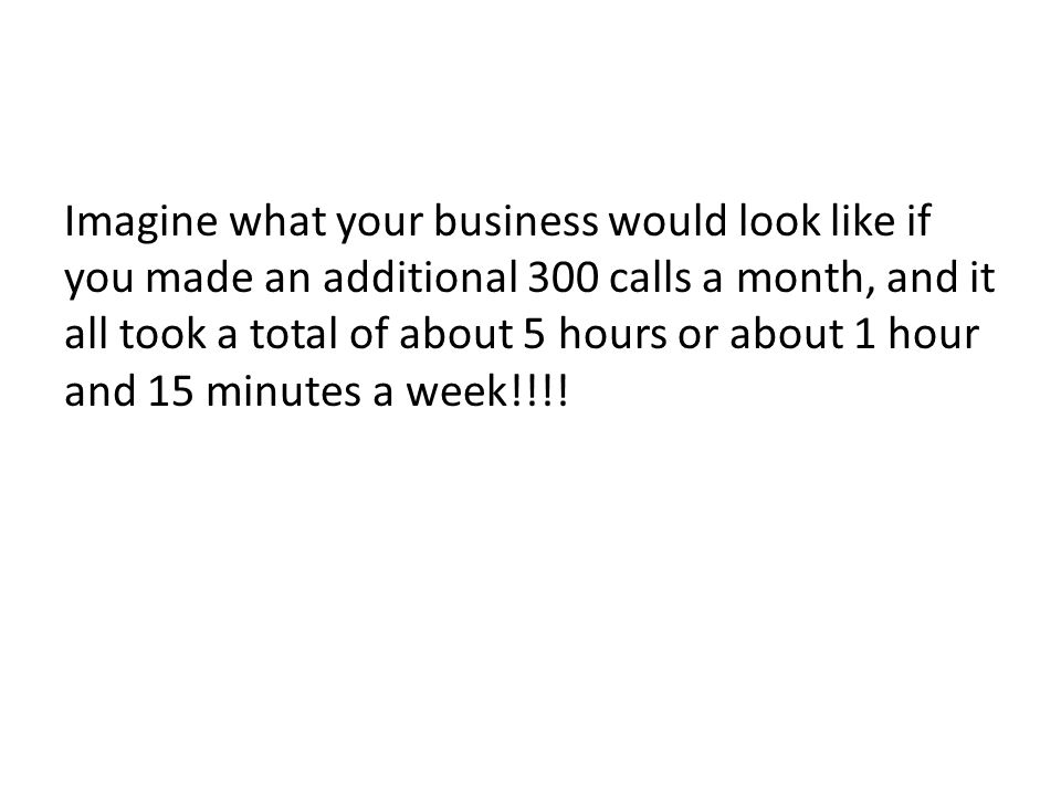 Imagine what your business would look like if you made an additional 300 calls a month, and it all took a total of about 5 hours or about 1 hour and 15 minutes a week!!!!