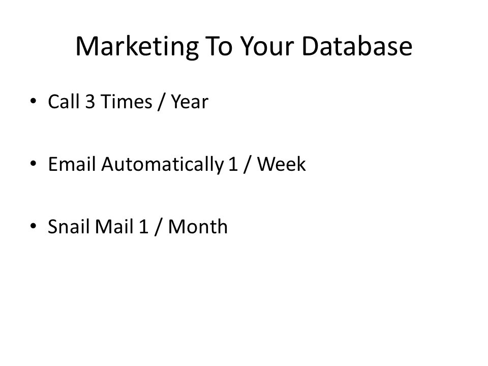 Marketing To Your Database