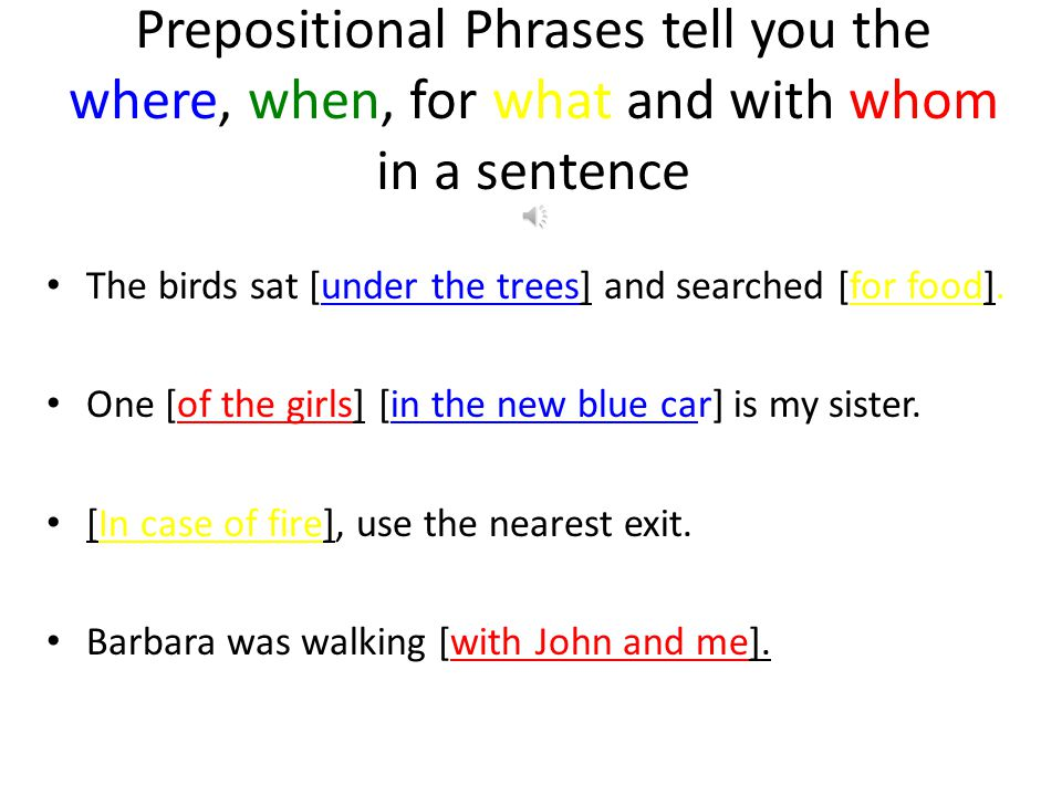 Prepositional Phrases tell you the where, when, for what and with whom in a sentence