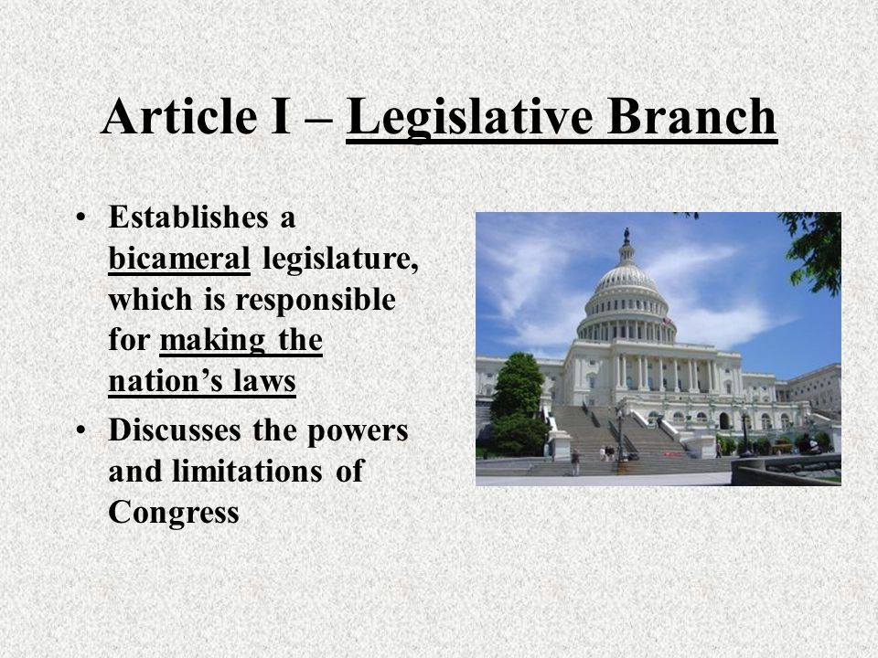 an introduction to the bicameral legislature Once the constitution was adopted, the united states moved to a bicameral legislature, a two-house congress made up of the senate and the house of representatives bicameral legislatures are .