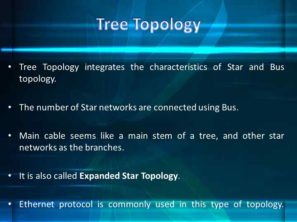 Tree Topology Tree Topology integrates the characteristics of Star and Bus topology. The number of Star networks are connected using Bus.