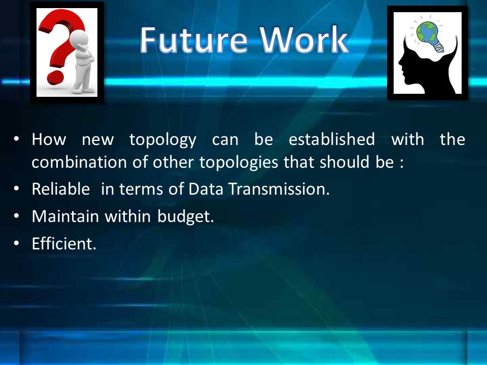 Future Work How new topology can be established with the combination of other topologies that should be :