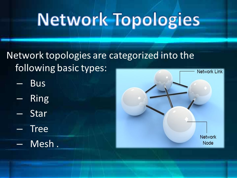 Network Topologies Network topologies are categorized into the following basic types: Bus. Ring. Star.