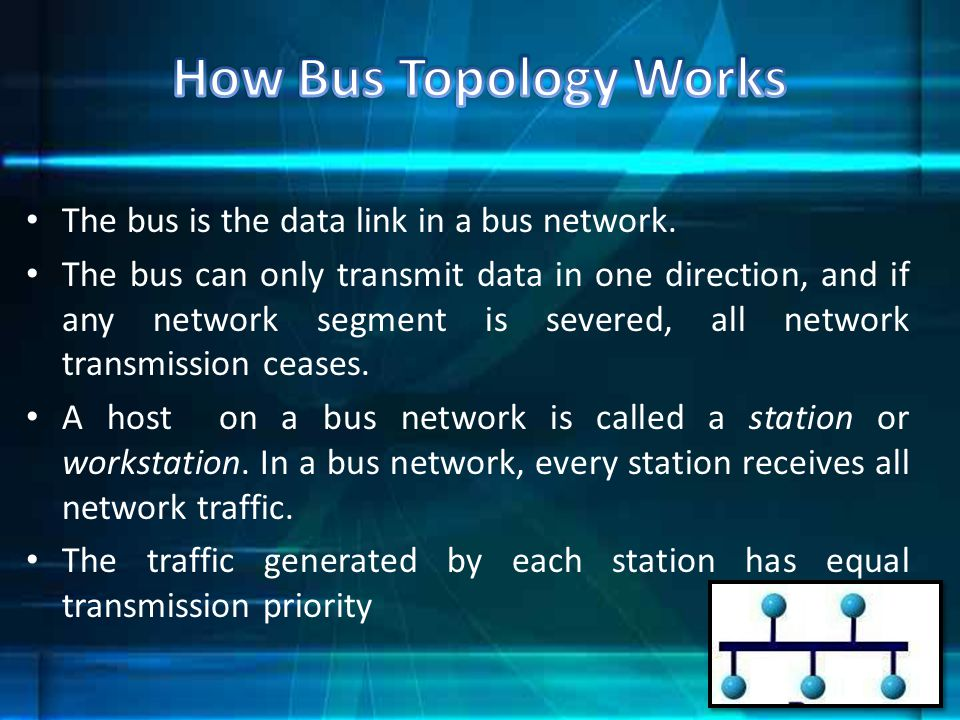 How Bus Topology Works The bus is the data link in a bus network.