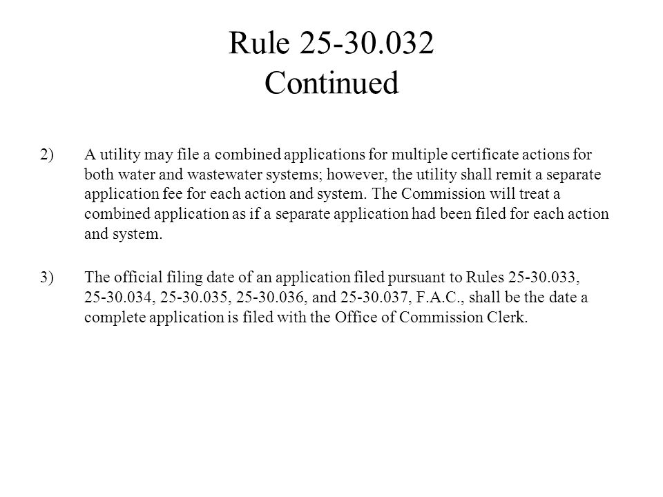 Rule 25-30.030 Continued