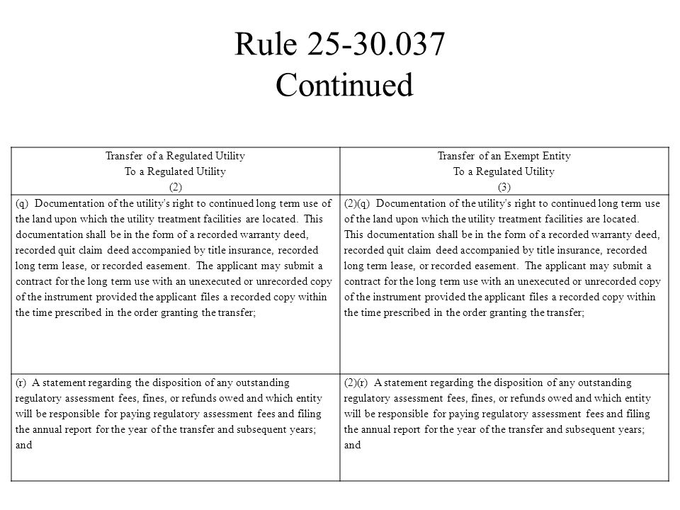 Rule 25-30.037 Continued Transfer of a Regulated Utility To a Regulated Utility. (2) Transfer of an Exempt Entity To a Regulated Utility.