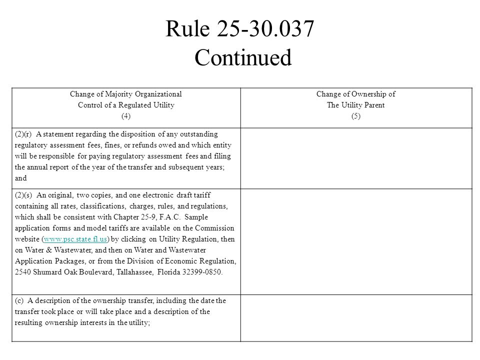 Rule 25-30.037 Change of Majority Organizational