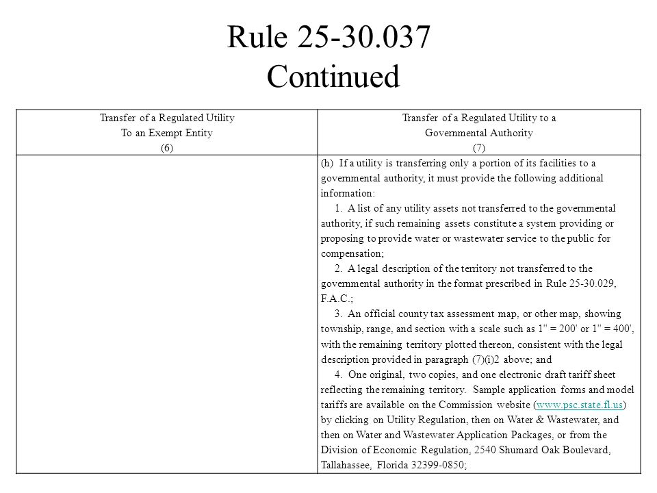 Rule 25-30.037 Transfer of a Regulated Utility To an Exempt Entity (6)