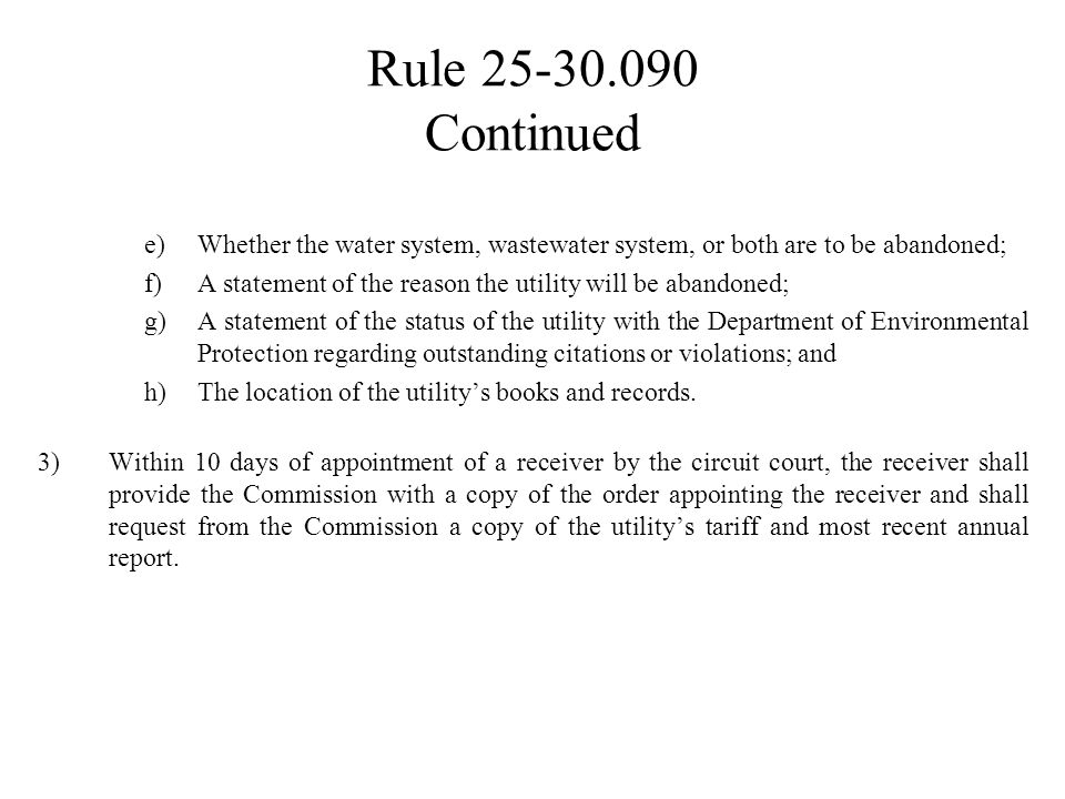 Rule 25-30.039 Continued