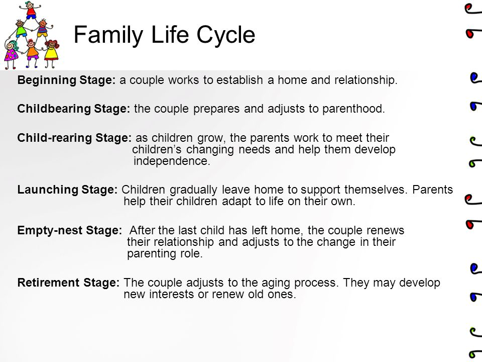 stages of the family life cycle Despite criticisms, family development theory and its associated concept of family life-cycle stages remains one of the most internationally popular academic approaches to the study of the families.