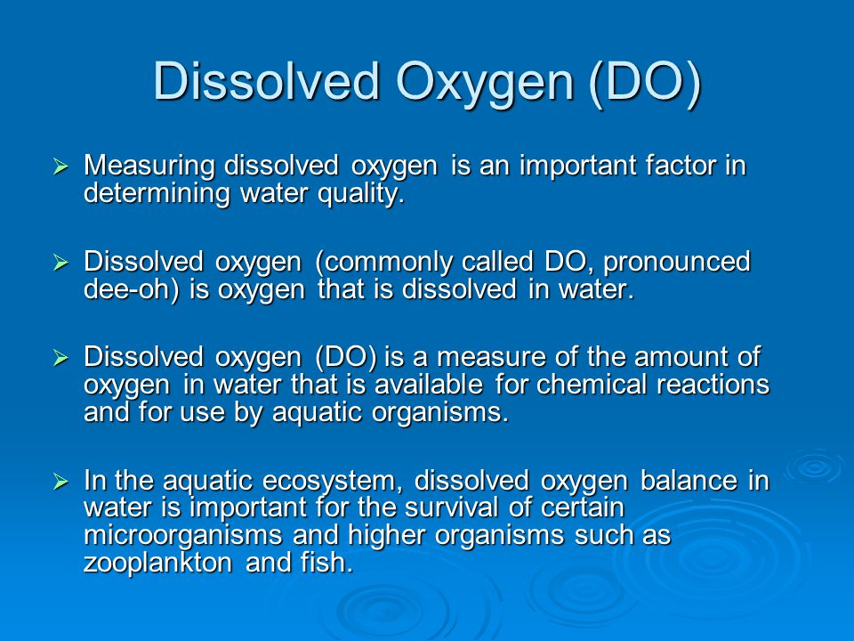 determination of the amount of dissolved oxygen essay Determination of media equilibrium during amount of dissolved air present oxygen,being to determine the effect of stirring alone,4 liters of.