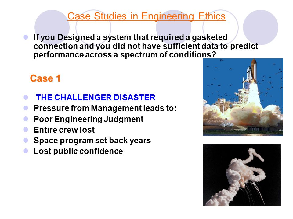 engineering ethics case studies with solution Engineering ethics is the field of applied ethics and system of moral principles that apply to the practice of engineering the field examines and sets the obligations by engineers to society, to their clients, and to the profession  case studies and key individuals.