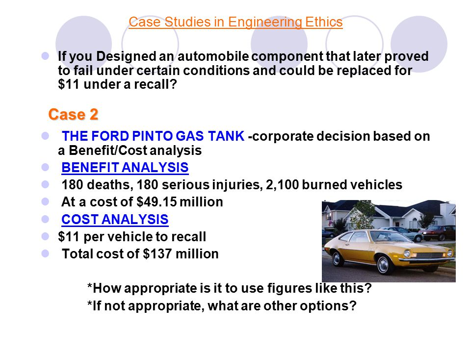 the ford pinto case study - ethics Case study from: business ethics workshop http://businessethicsworkshopcom/ case_studies/tochtml.