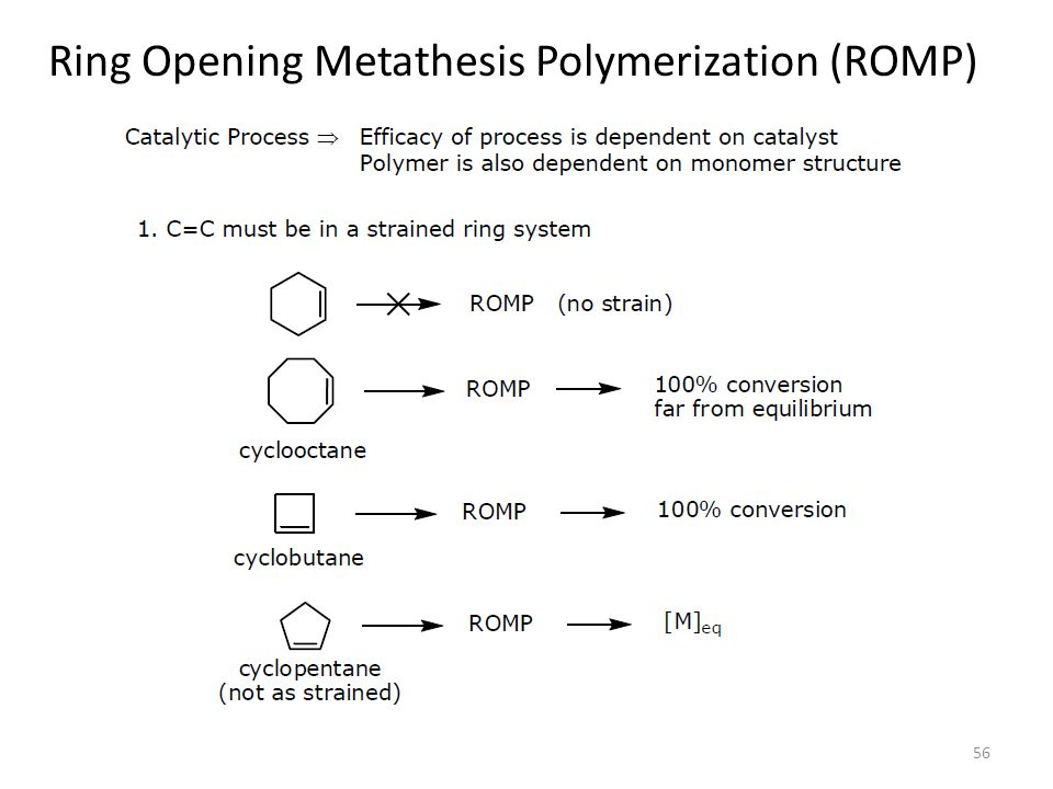 metathesis polymerization 73 61 abstract a detailed study of the ring-opening metathesis polymerization of low-strain monomers with ruthenium catalysts is reported the effects of monomer concentra-.