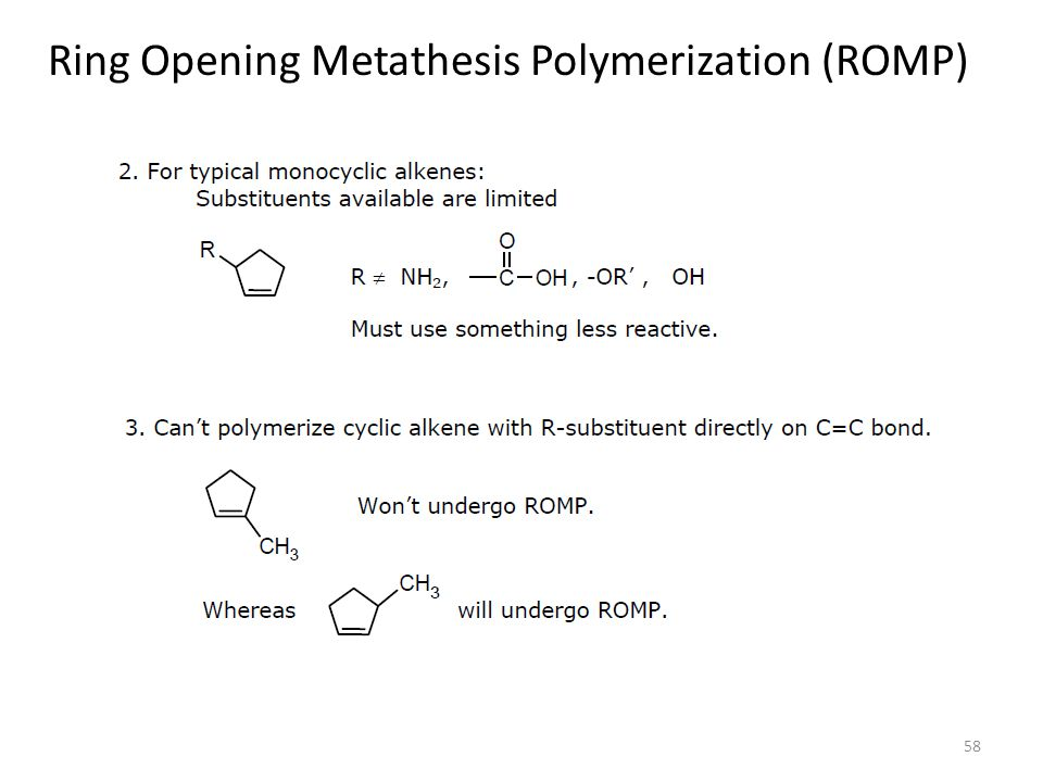 romp metathesis Recent advances in selective olefin metathesis reactions  ring-opening metathesis polymerization (romp)  two metathesis events per.