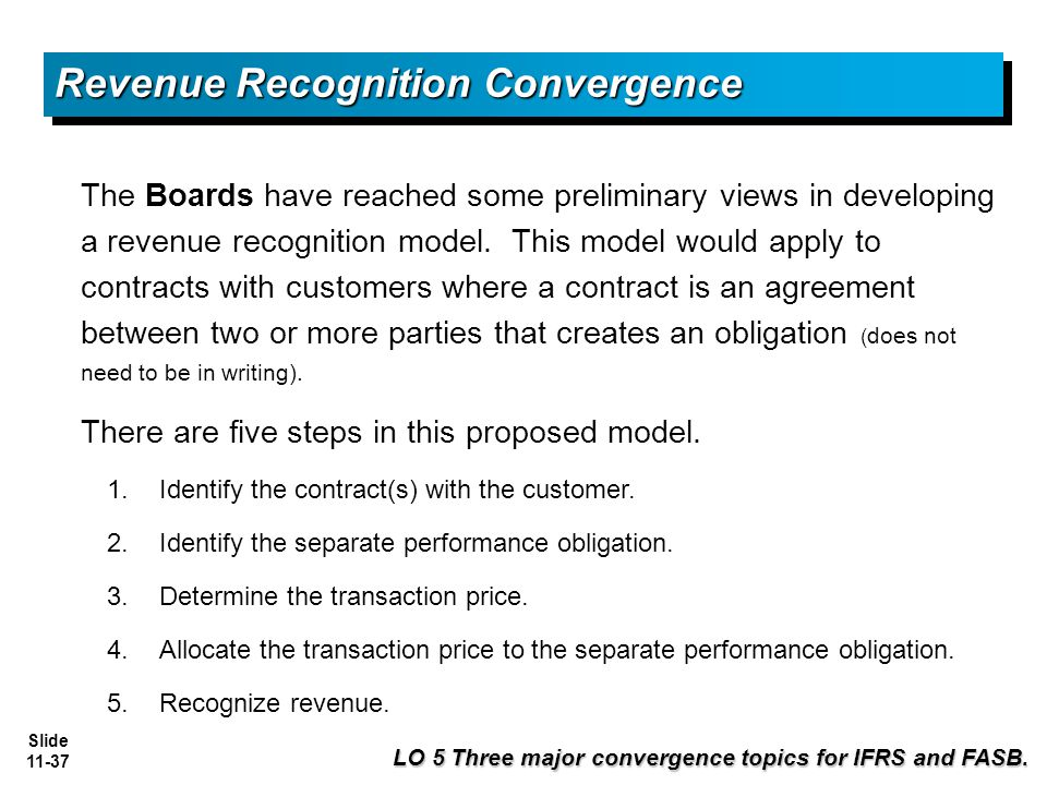 revenue recognition convergence Revenue recognition  revenue for sales-based or usage-based royalties promised in  revenue from contracts with customers, by reducing.