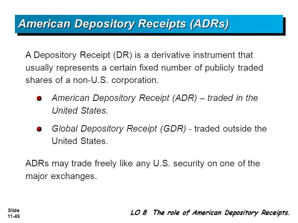 american depository receipt The westfield corporation (asx: wfd) has established a level 1 american  depositary receipt (adr) program which will permit investors to invest in  westfield.