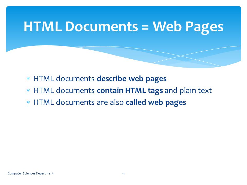 HTML Documents = Web Pages