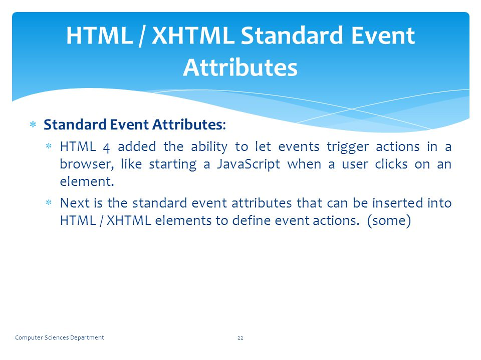 HTML / XHTML Standard Event Attributes