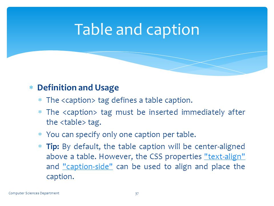 Table and caption Definition and Usage