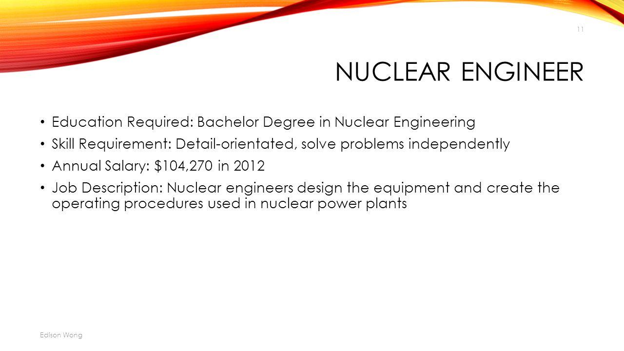 Nuclear Engineering Job Description