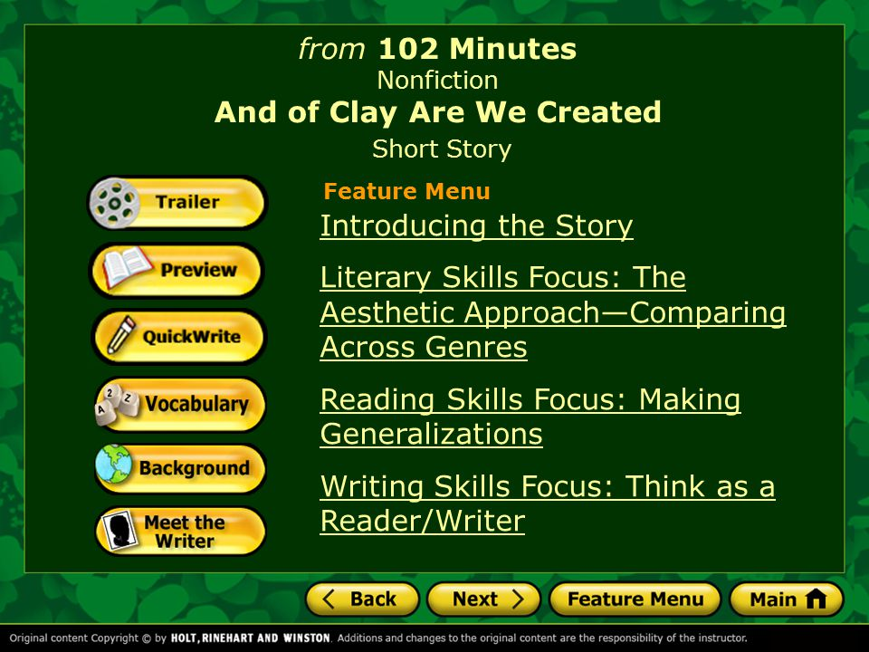 story and of clay are we And of clay we are created, written by isabel allende, explores what social psychologists refer to as the bystander effect in the story, azucena is a little girl who is trapped in the mud, and needs help if she is to survive.